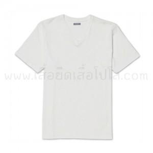 เสื้อยืดคอวี สีขาว